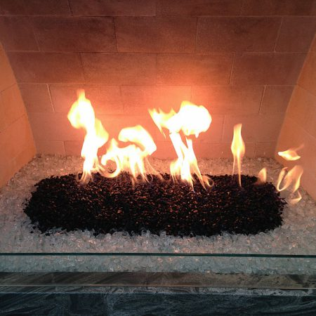 Indoor Fireplace - Black & Ice Clear Fire Glass (Small ¼ inch - ½ inch)