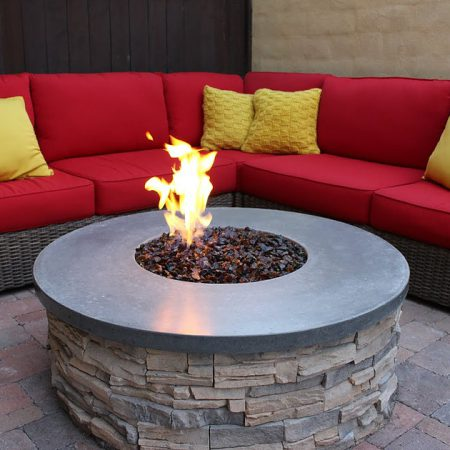 Outdoor Fire Pit - Amber Fire Glass (Medium ½ inch - ¾ inch)