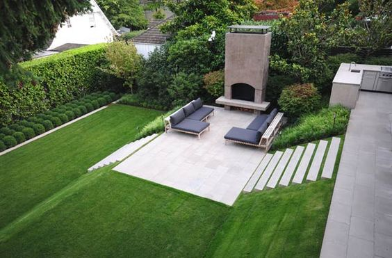 green yard with fireplace and seating area