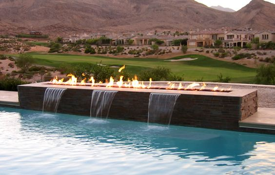 waterfall, fire, view, pool