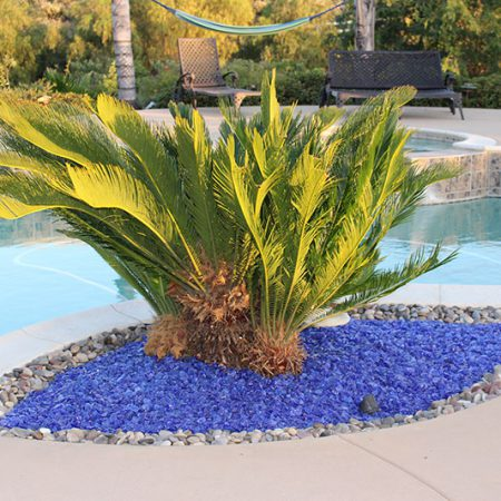 Landscaping glass is a great compliment to rocks and pebbles.