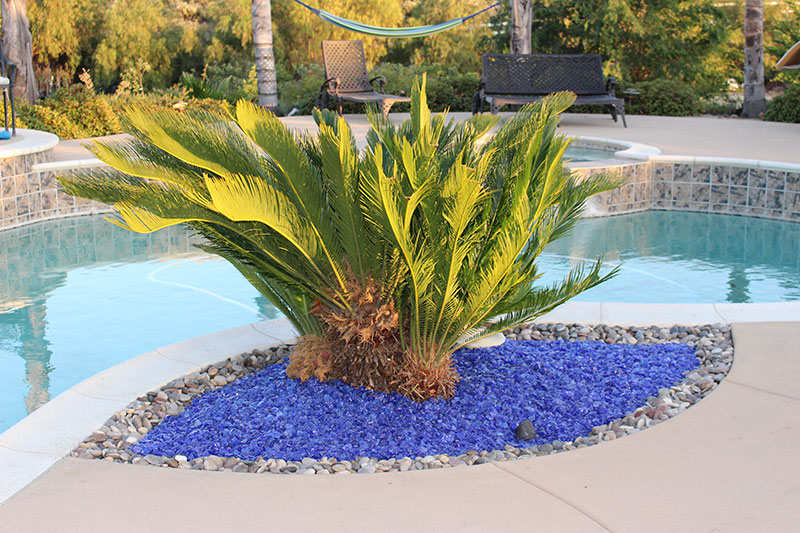 picture of ocean blue landscape glass in a planter