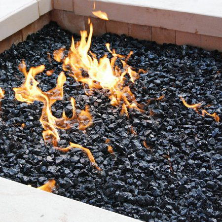 Outdoor Fire Pit - Black Fire Glass (Medium ½ inch - ¾ inch)