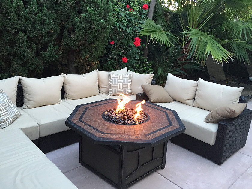 picture of Outdoor Fire Pit with Black Fire Glass