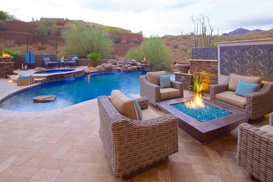 backyard design with fire pit