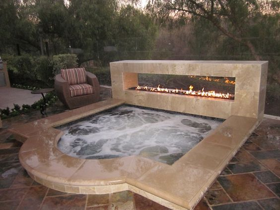 hot, tub, fire