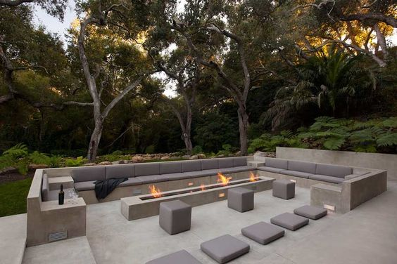 long, gray, fire, patio