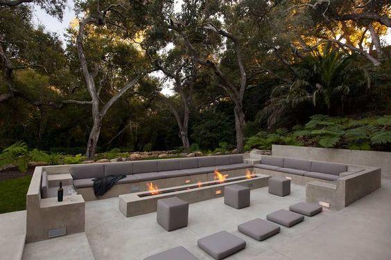 long, gray, fire, patio